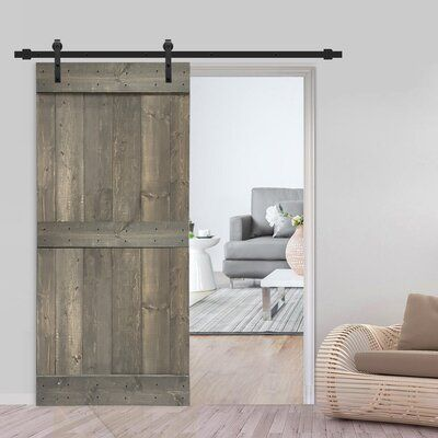Calhome Paneled Wood Metal Painted Barn Door With Installation Hardware Kit Finish Weather Gray In 2020 Rustic Interior Barn Doors Barn Doors Sliding Wood Barn Door