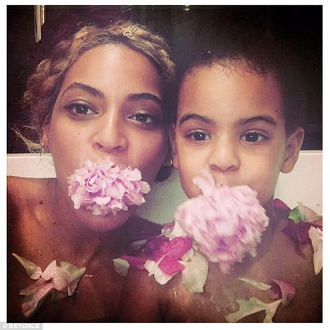 Pretty as a petal: The hitmaker also celebrated with her four-year-old daughter Blue Ivy, ...