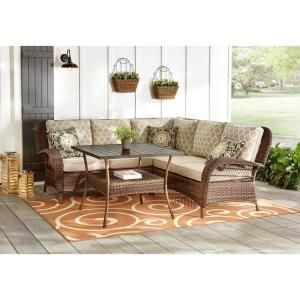 Leisure Made Concord 4 Piece Wicker Outdoor Sectional Set With Tan Cushions 638954 Tan The Home Depot In 2021 Wicker Outdoor Sectional Patio Furniture Collection Outdoor Sectional Sofa