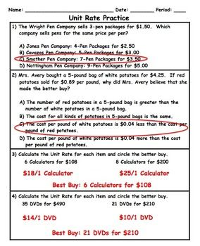 math worksheet : unit rate word problem application practice plus spiral review  : Unit Rate Word Problems