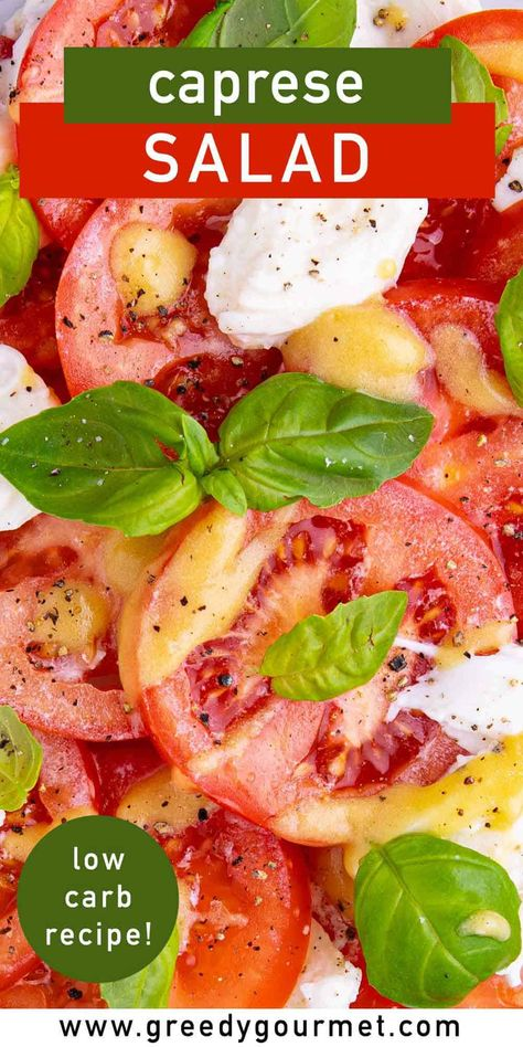 Caprese salad is one of those simpler recipes that is handy for any occasion, whether it be a barbecue or simply preparing tomorrow's lunchbox. This Italian salad will leave you feeling guilt-free as most of the ingredients inside are super healthy! You can eat as much as you want. The ingredients are tomatoes, basil, mozzarella, red wine, and Dijon mustard. Wat are you waiting for? Check this out now! #salad #healthysalad #capresesalad #simplesalad #healthysalad