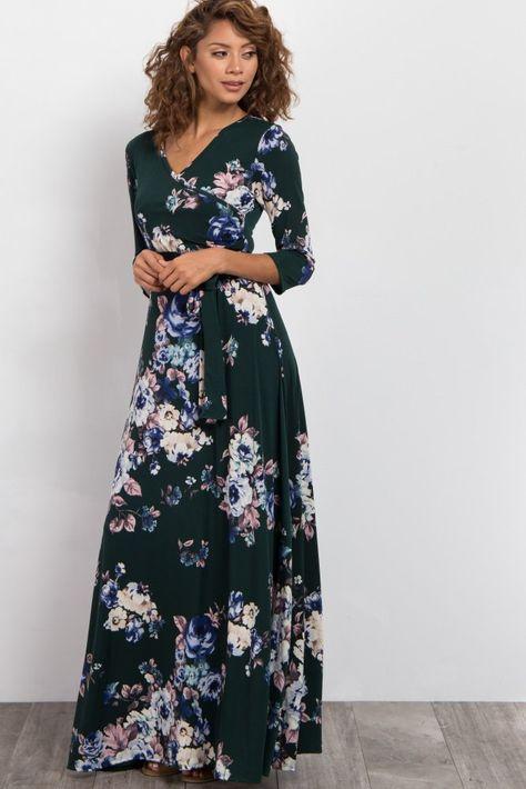 d0ab74959 Vestido largo con vuelo floral cuello redondo manga corta bohemio negro