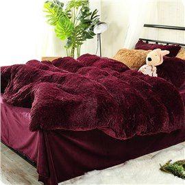 Full Size Burgundy Red Super Soft Plush 4 Piece Fluffy Bedding Sets Duvet Cover Burgundy Bedroom Fluffy Bedding Red Bedding Sets