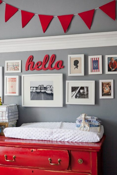 Grey boy's nursery with pops of red-NOT having another baby, but thought this was too pretty not to re-pin!  Love the color combo!  Might be good for a big boy room someday for Weston. :)