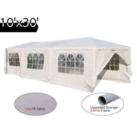 Quictent High Grade Gazebo Wedding Party Tent Bbq Pavilion Canopy With Side Walls 10 X30 White 8walls Walmart Com Gazebo Party Tent Bbq Canopy