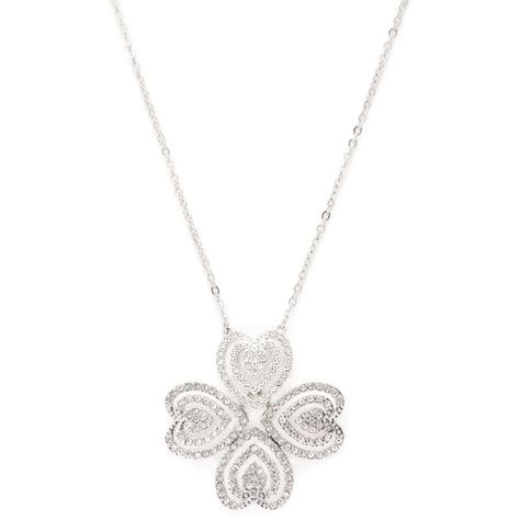 fca9724e6 Swarovski Women's Carol Convertible Pave Four-Leaf Clover Motif/Heart...  ($71) ❤ liked on Polyvore featuring jewelry, necklaces, silver, heart  pendant, ...