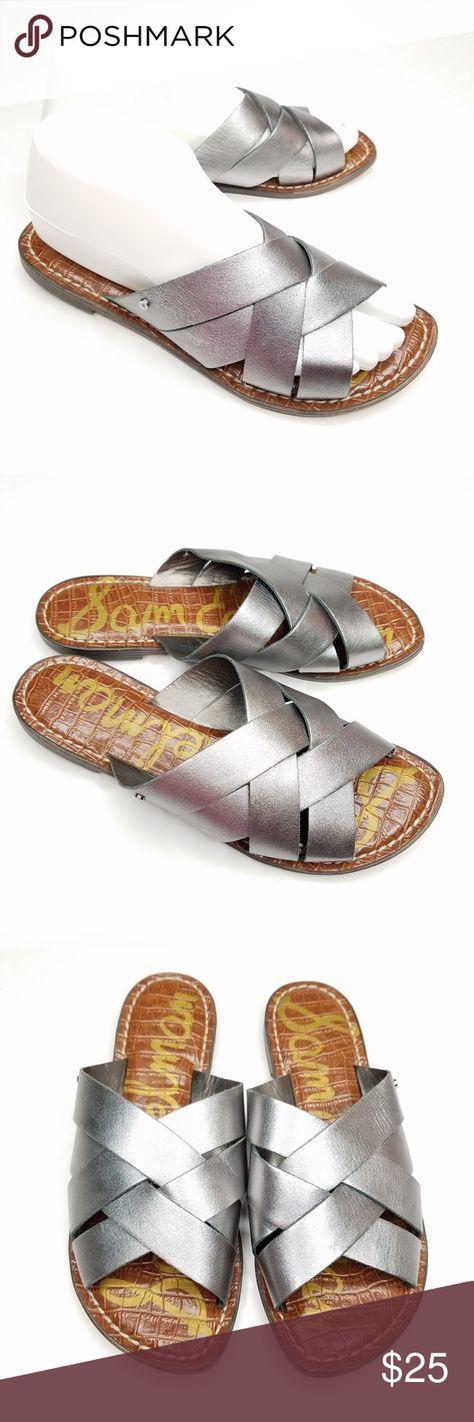 7cd39cd5ec9c Sam Edelman Women s Gaile Slides Sandal Silver 6.5 Condition  Like new
