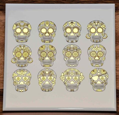 Glass Decal Enamel Ceramic Decal 47841 Waterslide Decal Enamel Decal Sugar Skull Cats or Glass Fusing Decals Choose Either Ceramic to Choose from 3 Different Size Sheet Images