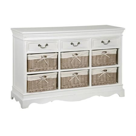 White Wooden Large Chest Of Drawers 6 Wicker Baskets White Painted Furniture Home Decor Kitchen