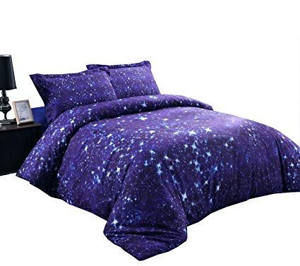 Alicemall Blue Constellation Bedding Shining Stars And Galaxy