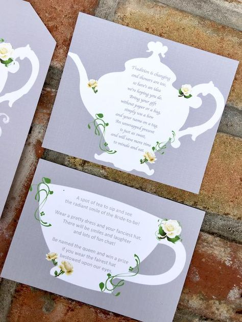 Additional insert Cards for Tea Party Invitations | Etsy
