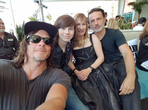 Norman Reedus, Chandler Riggs, Gale Anne Hurd, and Andrew Lincoln