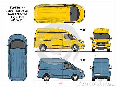 Ford Transit Custom Cargo Delivery Van Swb L1h2 And Lwb L2h2 High Roof 2018 2019 Detailed Template For Design And