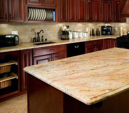 kitchen travertine floor dark caninet backsplash | ... dark maple ...