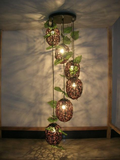 Handmade art lamp cane makes up pedant lamp creative arts rural droplight sitting room bedroom chand