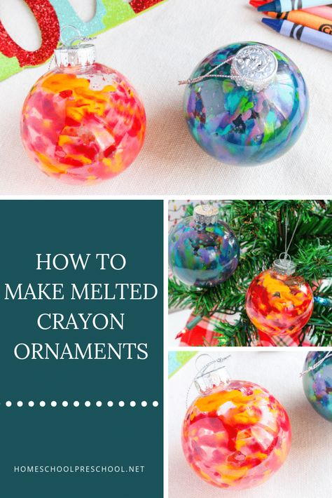 Diy christmas ornaments 715650197020596108 - With just a few simple supplies that you are likely to already have on hand, you and your kids will have a blast making some beautiful melted crayon ornaments. Source by empoweredsinglemoms Preschool Christmas, Christmas Crafts For Kids, Homemade Christmas, Holiday Crafts, Holiday Ideas, Painted Christmas Ornaments, Noel Christmas, Crayon Ornaments Diy, Diy Ornaments For Kids