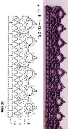 Crochet Border Patterns, Crochet Lace Edging, Crochet Diagram, Crochet Chart, Diy Crochet, Knitting Patterns, Crochet Braid, Crochet Edgings, Beginner Crochet