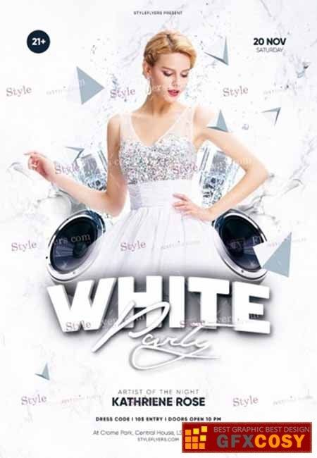 White Party Psd Flyer Template Free Download Photoshop In 2020 Psd Flyer Templates Free Psd Flyer Templates Graduation Party Flyer