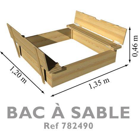 Bac à sable avec pare-soleil et bancs intégrés Sandbox Kit Ideas - Maisonnette En Bois Avec Bac A Sable
