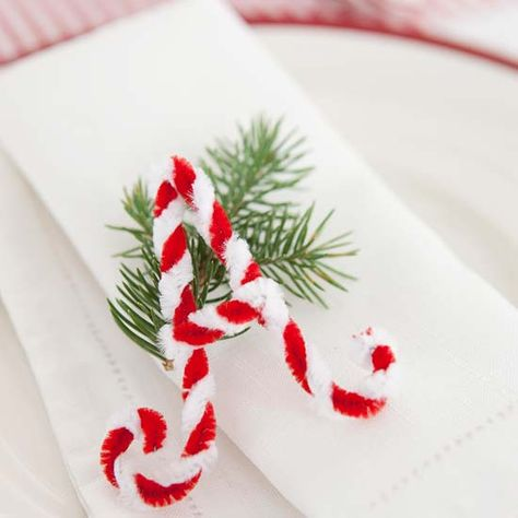 Instead of place cards, guide guests to their seats with chenille-stem letters. Twist together red and white chenille stems, then shape the stems into guests' first initials. http://www.bhg.com/christmas/indoor-decorating/festive-holiday-napkin-ideas/?socsrc=bhgpin121914chenilleletters&page=9