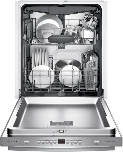 Bosch 300 Series 24 Bar Handle Dishwasher With Stainless Steel Tub Stainless Steel Shxm63w55n Best Buy Steel Tub Bosch Dishwashers Integrated Dishwasher
