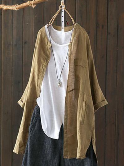 Lady Cotton Linen Shirt Tops Asymmetry Button Long Sleeve Blouse Retro Casual