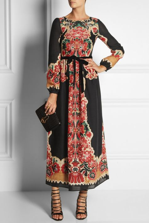 RED Valentino | Printed wool maxi dress | NET-A-PORTER.COM