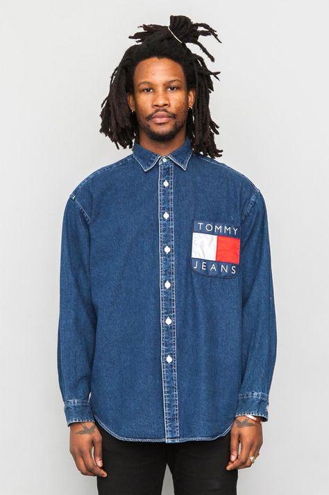 90 s Vintage Tommy Hilfiger denim logo pocket shirt  51e0be5641777