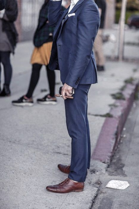 Navy Blue Suit Brown Shoes Styles