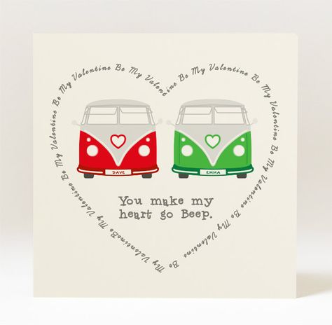 Personalised  Love Campervan Greeting Card for Valentine's Day - 145mm Square Card