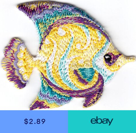 SEA CREATURES IRON ON EMBROIDERED PATCH OCEAN SEAFISH