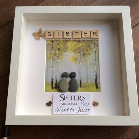 Pebble Art Sisters gift for her gift for sister wall decor