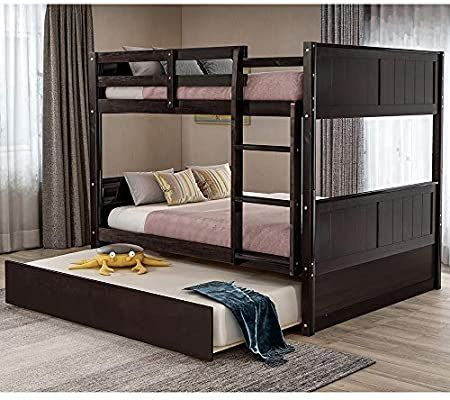 Amazon Com Bunk Beds With Trundle Rockjame Solid Wood Full Over Full Bunk Bed Frame With Ladder And Safety Rail F Bunk Bed With Trundle Bunk Beds Trundle Bed Full over full with trundle