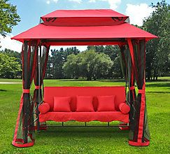 Henryka Gazebo Swing In Red The Home Depot Canada Discount