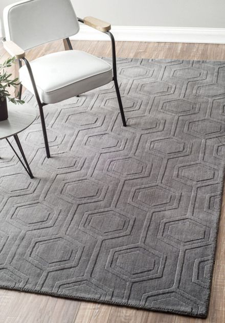 Rugs Usa Grey Monochrome Honeycomb Rug