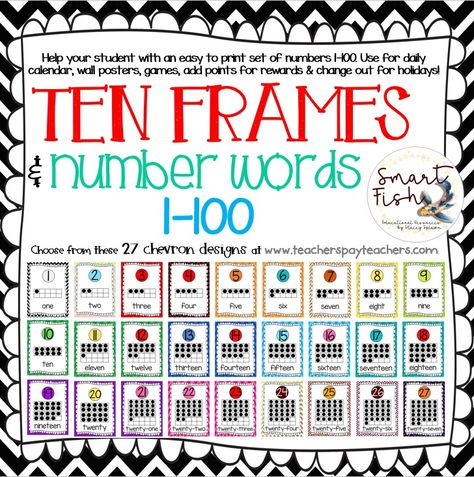 Start the school year off with Ten Frames and Number Words 1-100 ...