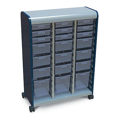 Cascade mobile storage cabinet with clear plastic totes. Perfect ...
