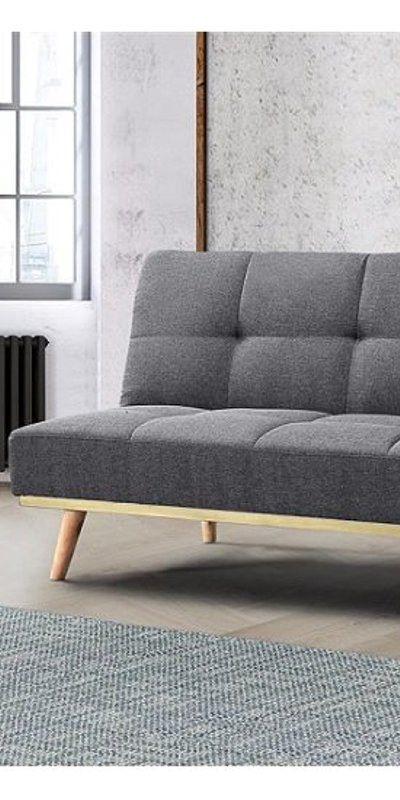 Soren Fabric Sofa Bed In Grey With Wooden Legs Fabric Sofa Grey Home Decor Comfortable Sofa