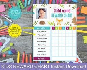Personalized Reward Chart For Kids Kids Rewards Reward Chart Kids Charts For Kids