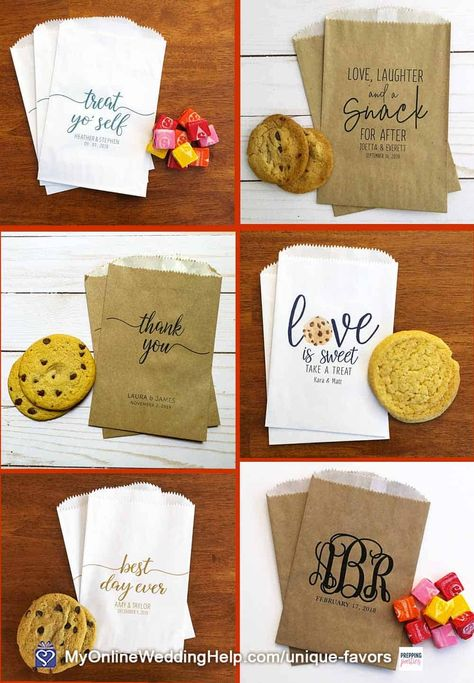 DIY cookie wedding favors are very economical and your guests will love you for them. Bake the cookies yourself and buy these bags to put them in. Look for more information and the buy links in the non-traditional wedding favor ideas post on MyOnlineWeddingHelp.com #WeddingFavors #WeddingIdeas #CookieFavors #FavorBags