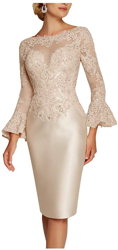 ShineGown Women Lace Mother of The Bride Groom Dress Column Evening Gowns Short Wedding Guest Outfit with Bell Sleeve