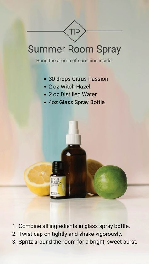 Brighten up your space with the smell of summer sunshine by trying out this fun and easy DIY room spray using our Citrus Passion essential oil blend!  #wednesdaytip #rockymountainoils #rmo #citrus #citrusoils #citruspassion #essentialoiltip #oiltip #aromatherapy #holistic #wellness #nontoxic #oildiy #diy #oils #tipwednesday #roomspray #recipe #diyrecipe #essentialoilrecipe #summer