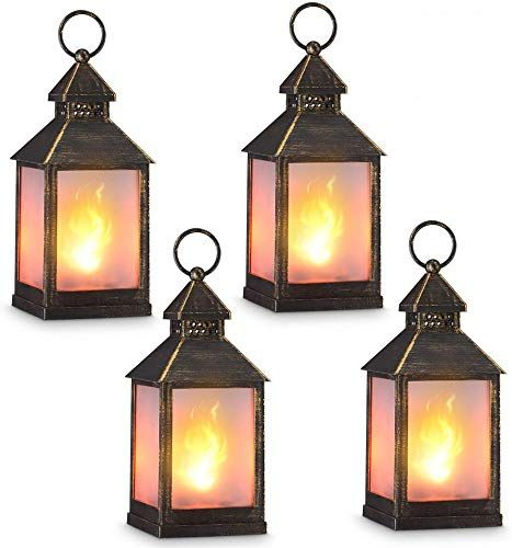 Amazing Offer On Zkee 11 Vintage Style Decorative Lantern Flame Effect Led Lantern Golden Brushed Black 4 Hours Timer Indoor Lanterns Decorative Outdoor Hanging Lantern Decorative Candle Lanterns Set 4 Online In 2020 Lanterns Decor Candle