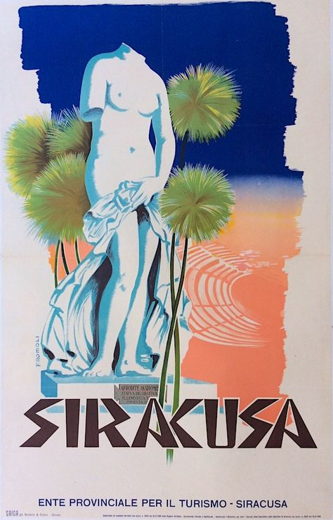 Erice Sicilia Sicily Italy Italia Italian Vintage Travel Advertisement Poster