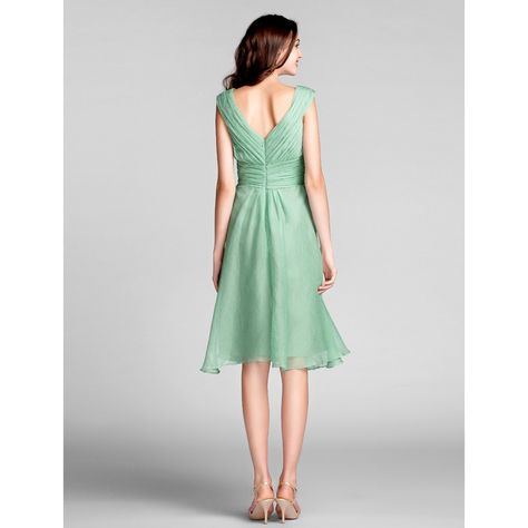 Sheath/Column V-neck Knee-length Chiffon Bridesmaid Dress