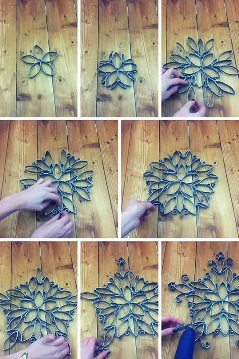 How to Make an Intricate Christmas Star from Toilet Paper Roll #toiletpaperrolldecor Make this ornate, Christmas star from toilet paper rolls, paint and glitter. It really is amazing what you can make from toilet paper rolls!