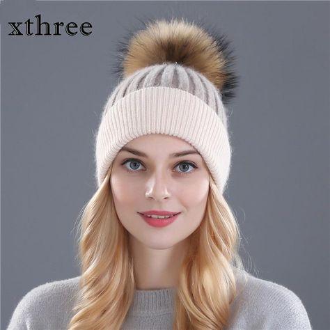 59f9dcbc14b71 Xthree Winter Wool Knitted Hat Beanies Real Mink Fur Pom Poms Skullies –  FuzWeb