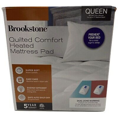 Brookstone Quilted Comfort Heated Queen Mattress Pad 846756045434 Ebay Mattress Pad Queen Mattress Heated Mattress Pad
