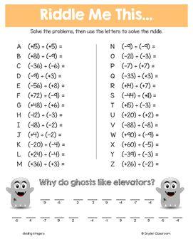 Halloween Math Middle School Math Riddles