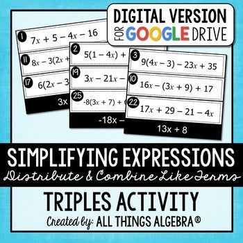 Simplifying Expressions Triples Activity Digital Version Simplifying Expressions Combining Like Terms Polynomials